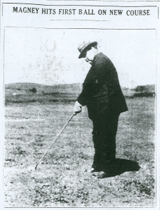 Judge C.R. Magney hits the first ball at Enger Park, July 2, 1927. From Duluth News Tribune, July 3, 1927.