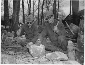 Civilian Conservation Corps workers breaking rocks